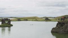 Iceland landscape, Lake Myvatn Icelandic nature Stock Footage