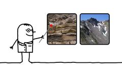 Cartoon man geologist showing pictures of rocks and mountains Stock Illustration