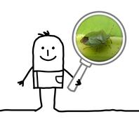 cartoon man observing a bug with a magnifying glass - stock illustration