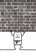 cartoon man crushed and standing under a wall - stock illustration
