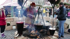 Mulled wine at Christmas time, Riga, Latvia Stock Footage