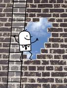 cartoon man climbing to an outlet in a wall - stock illustration