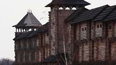 Panorama of an old wooden castle with watchtowers. Historical architecture Stock Footage