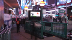 Times Square Subway Metro Entrance Timelapse Busy People Stock Footage