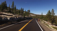 Driving POV Yosemite Highway Forest and Boulders 4K Stock Footage