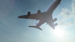 Stock Video Footage of Flying huge Airbus A380 airliner with no logos. 4K sunny weather pan video