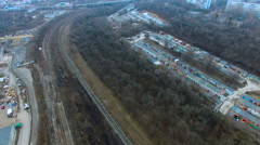 Flying over railway tracks - stock footage