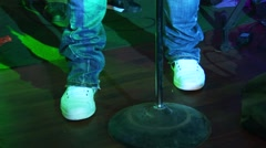 Dima Bilan sing with band on stage of nightclub. Gold microphone. Gesticulation Stock Footage