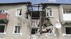 Destroyed house war in Ukraine Stock Footage