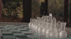 Game Of Chess Opening Moves Outdoors In The Park - stock footage