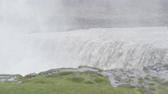 Iceland Waterfall Dettifoss with tourists people visiting famous destination Stock Footage