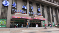 Passengers enter and exit Taipei station, transport hub in Taiwan Stock Footage