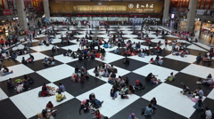 Chess board pattern, abstract view of Taipei station, infrastructure Taiwan - stock footage