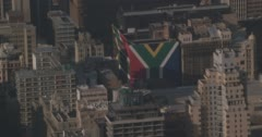 The South African flag on the side of a building Stock Footage