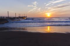 Beach Pier  Sunrise Ocean - stock photo