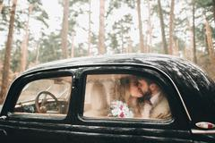 Gorgeous newlywed bride and groom posing in pine forest near retro car Stock Photos