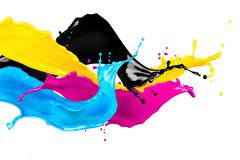 Abstract CMYK color splashes Stock Photos