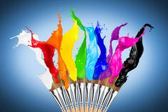 colorful color splash paintbrush row - stock photo