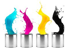 colorful CMYK color dose splash  row - stock photo