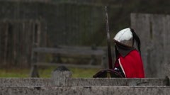 Brave medieval knight with steel armor and big sword goes on the attack Stock Footage