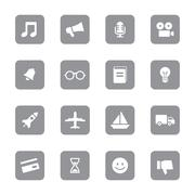 Gray flat transport and miscellaneous icon set on rounded rectangle Stock Illustration