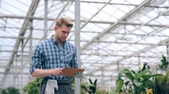 Florist making notes on tablet in greenhouse - stock footage