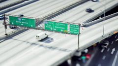 Miniature Style Los Angeles Freeway Traffic Timelapse Downtown - stock footage