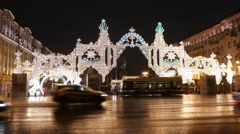 The streets of the city on the eve of Christmas. Set of holiday lights, garlands Stock Footage