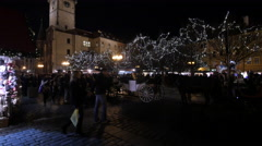 Stock Video Footage of Carriages with horses in the Old Town Square on Christmas in Prague