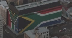 South African flag on the side of a building Stock Footage