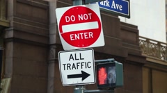 Stock Video Footage of City Street Sign Do Not Enter Crooked