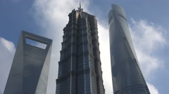 Day time lapse Shanghai city financial business district, skyline, skyscrapers - stock footage