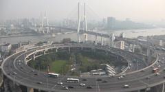 China, time lapse Nanpu bridge, rush hour traffic, infrastructure Shanghai, Asia Stock Footage