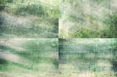 Green colored grunge texture backgrounds - stock illustration