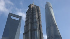 Shanghai skyline, modern tall office towers, architecture, time lapse, China Stock Footage
