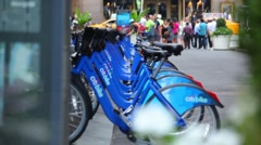 City Bicycle Rental Rack Stock Footage
