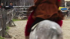 Horsemen on pedigreed horses coming home after a long absence. Historical moment Stock Footage