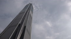 Time lapse clouds flying over Ping An tower, skyscraper, Shenzhen, China - stock footage