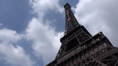 Time lapse clouds, replica of the Eiffel Tower, theme park in Shenzhen, China Stock Footage