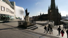 Statue of Nelson in the Bullring, Birmingham. Stock Footage