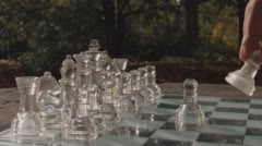 Playing Chess In The Park - stock footage