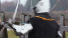The medieval tussle of two strong knights. Resentment, cruelty and revenge - stock footage
