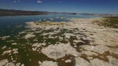 Mono Lake Coastline Tufa Aerial 4K Stock Footage