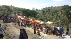 Peoples attend hindu funeral Cremation ceremony - stock footage