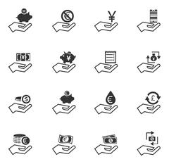 Hand and money icons set Stock Illustration