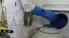 Filling liquid nitrogen cryogenic chamber Stock Footage