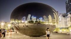 Chicago Cloud Gate Millennium Park Timelapse at Night Stock Footage