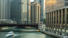 Chicago River Timelapse with Boat Traffic and shadows Stock Footage