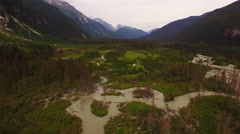 Alaska River Valley Epic Mountains Cloudy Fast Aerial 4K Stock Footage