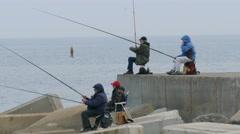 Men Fishing on Brake Water Stock Footage